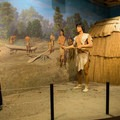 A visitor center display recreates explorer Father Jacques Marquette's visit  to a village of the Kaskaskias, an Illinois tribe. - Starved Rock State Park