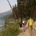 Taking the shore path to the crag. - Lake Louise: Back of the Lake