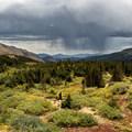 Views toward the trailhead from the trail.- Lake Dorothy