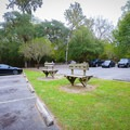 The parking area has benches for scuba divers.- Little River Springs Park