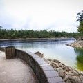 Walkways lead to the spring's confluence with the Suwannee River.- Little River Springs Park
