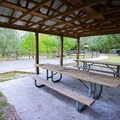 A few covered benches sit in the park area just up a flight of steps from the spring.- Little River Springs Park