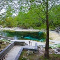 Descending on a walkway to the springs.- Little River Springs Park