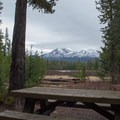 Many of the sites have a good view of the Three Sisters. - Scott Lake Campground