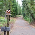 Sign for the walk-in campsites and trail to Hand Lake.- Scott Lake Campground