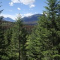 A view of the many mountains in Jasper as seen from a high point on the trail.- Valley of the Five Lakes