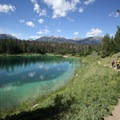 Fourth Lake, with the trail along the north side.- Valley of the Five Lakes
