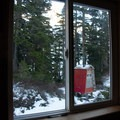 Looking out the back window. - BCMC Watersprite Hut