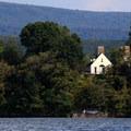 Shawnee Lodge sits on an island in Lake Shawnee.- Shawnee State Park