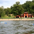 The swimming area has a modern bathhouse.- Shawnee State Park