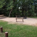 Sites have picnic tables, and many have benches, too.- Bessey Recreation Complex + Campground
