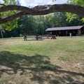 The group site has its own picnic shelter.- Bessey Recreation Complex + Campground