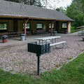 There is a large picnic shelter.- Bessey Recreation Complex + Campground