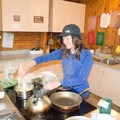 Cooking at one of the two kitchen islands in the hut. - Conrad Kain Hut