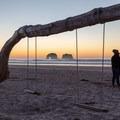 Improvised swings at Twin Rocks, Oregon.- Twin Rocks