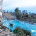 Looking across the pools from the side of the old mill.- Cascate del Mulino in Saturnia