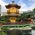Lotus Pond around the golden Absolute Perfection Pavilion. It is connected by two red painted timber Zi Wu Bridges that are not accessible to visitors.- Nan Lian Garden
