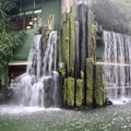 Restaurant behind a waterfall feature.- Nan Lian Garden