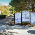 The Olinda Oil Trail begins adjacent to the museum and parking area behind an interpretive sign.- Olinda Oil Trail + Museum