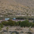 The RV section of the campground is on a large parking lot. - Pine Springs Campground
