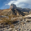El Capitan from U.S. 62 as you climb out of the lower desert.- Pine Springs Campground