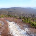 View of Castle Point in Minnewaska from Verkeerder Kill Falls Trail.- Shawangunk Ridge Trail: Sam's Point Section