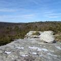 Glacial erratic along Verkeerder Kill Falls Trail.- Shawangunk Ridge Trail: Sam's Point Section