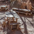 The rock picnic tables near the Grotto.- McKittrick Canyon: Lower Section to the Grotto and Pratt Lodge