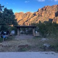 Typical site in the crowded upper loops. Note: Not all sites have a shaded picnic table. - Chiso Basin Campground