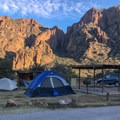 Typical campsite in the upper loops.- Chiso Basin Campground