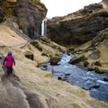 The path becomes a single track as it approaches the falls.- Kvernufoss (Sigurfoss) Waterfall