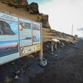 A signpost welcomes visitors to the black sand beach.- Reynisfjara Beach