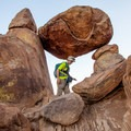 Inside the rock portal of Balanced Rock.- Balanced Rock via Grapevine Hills Trail
