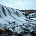 The falls are only about 3 meters tall. However, Brúarfoss is one of Iceland's most scenic falls.- Brúarfoss