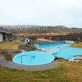 The hotel's pool complex is built using warm and hot water from a geothermal source.- Hotel Húsafell