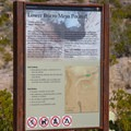 Trailhead sign and map that directs you up Javelina Creek to the larger pour-off.- Lower Burro Pour-Off Trail