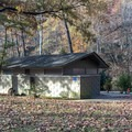 The bathhouse with flush toilets, sinks, but no showers.- Gulpha Gorge Campground