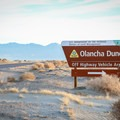 A sign marks the entrance to the dune area. Two-wheel drive vehicles should proceed with caution when the road turns to soft sand after about 100 yards.- Olancha Dunes