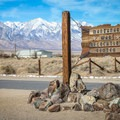 Visitors can drive (or walk) a course that traces the grounds of the former detention camp, beginning at the historical entrance.- Manzanar National Historic Site