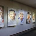 The museum often has art themed around Manzanar's past residents, including this gallery by Steve Cavallo.- Manzanar National Historic Site