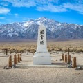 """Translating to """"monument to console the souls of the dead,"""" a shrine sits in the Manzanar cemetery. Each year it is the site of an annual pilgrimage by former detainees who seek to remember their imprisonment at Manzanar.- Manzanar National Historic Site"""