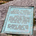 Memorial marker for the poet-solder at the junction for the upper and lower loops. - Joyce Kilmer Memorial Forest Loop Trail