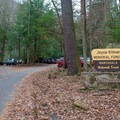 Entrance to the trailhead parking at the Joyce Kilmer Memorial Forest. - Joyce Kilmer Memorial Forest Loop Trail