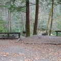 Typical site on the lower section of the campground, along the river, that is open year round.- Horse Cove Campground