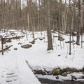 Cross the bridge to the trail registration.- Poke-O-Moonshine Snowshoe
