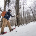 Snowshoeing up the hill to the west.- Poke-O-Moonshine Snowshoe
