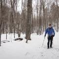 Snowshoeing on the trail.- Poke-O-Moonshine Snowshoe