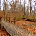A bridge over water along Schoen Creek Trail.- Schoen Creek Trail