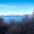 Views across Lake Tahoe from the trail.- Cave Rock Trail