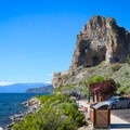 Cave Rock towers above Highway 50 along Lake Tahoe's eastern shore.- Cave Rock Trail